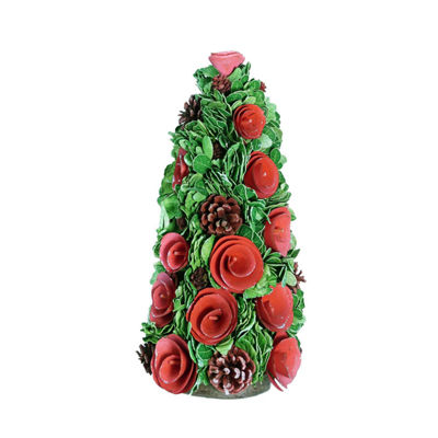 "15.75"" Red Wood Rose Flower and Pine Cones Christmas Cone Tree Decoration"""