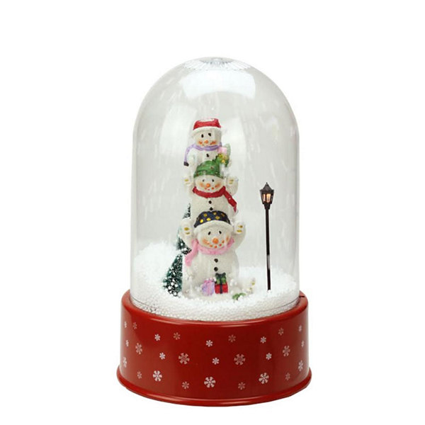 "11.75"" Lighted Musical Stacked Snowmen Snowing Christmas Snow Dome"""