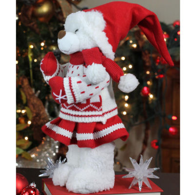 "13.5"" Retro Christmas Girl Santa Bear in Deer Sweater Christmas Figure Decoration"""