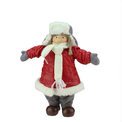 "12.25"" Cheerful Young Girl Gnome in Red Puffy Winter Coat and Gray Hat Christmas Decoration"""