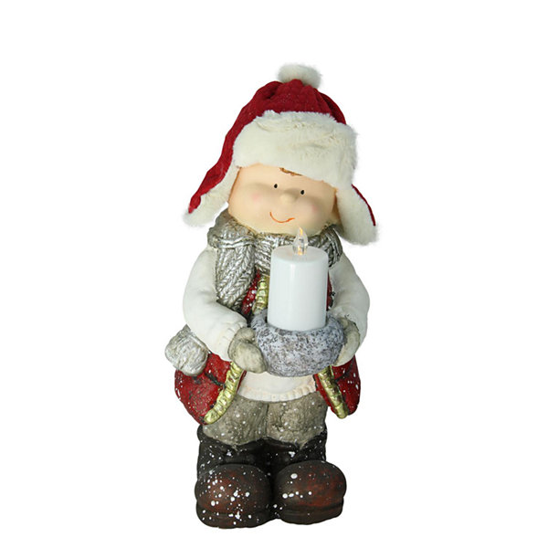 "17"" Standing Young Boy in Winter Ski Hat Holding Candle Christmas Figure"""