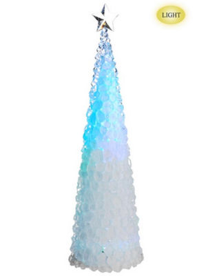 "26"" Icy Crystal Cone Tree Multi Color LED Lighted Christmas Tree Figure"