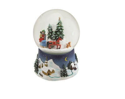 """6.5"""" Musical and Animated Christmas Villiage Winter Scene Rotating Water Globe Dome"""""""