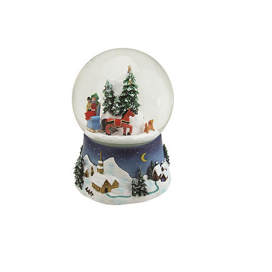 65 musical and animated christmas villiage winter scene rotating water globe - Musical Animated Christmas Decorations