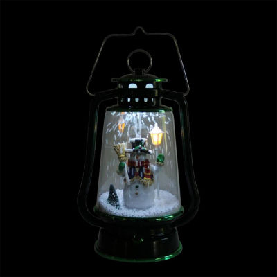 "13.5"" Green Lighted Musical Snowman Snowing Christmas Table Top Lantern"""