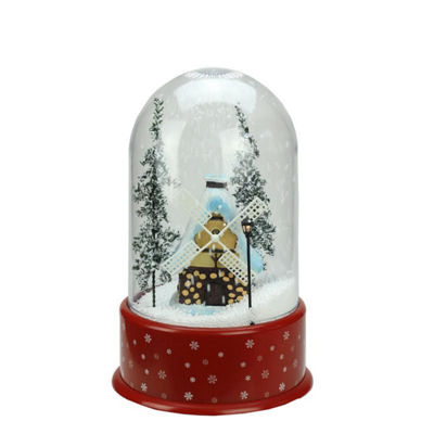 "14"" Lighted Musical Snowing Windmill Christmas Table Top Snow Dome"""