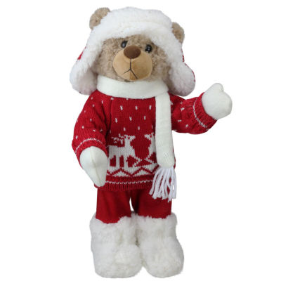 "14"" Retro Christmas Brown Winter Boy Bear in Deer Sweater Christmas Figure Decoration"""