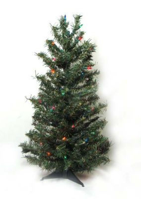2.5' Pre-Lit Canadian Pine Artificial Christmas Tree - Multi Lights