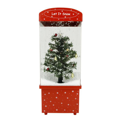 """16.25"""" Lighted Musical """"Let it Snow"""" Christmas Tree Snow Globe Glitterdome"""""""