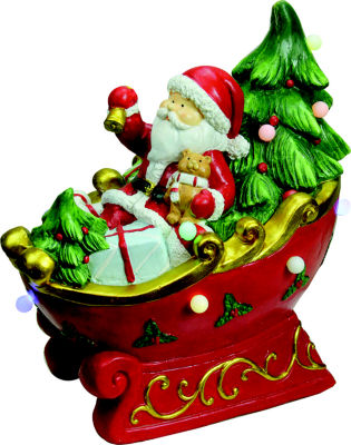 """18"""" LED Lighted Santa in a Sleigh Musical Christmas Tabletop Decoration"""""""