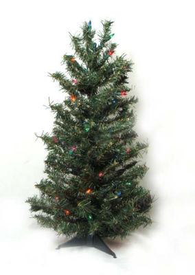 2' Pre-Lit Canadian Pine Artificial Christmas Tree- Multi Lights