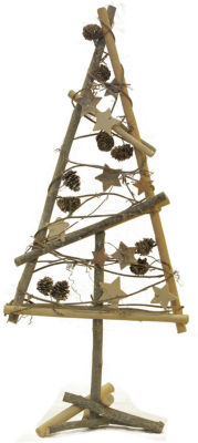 """23"""" Natural Twig with Pine Cones and Stars Christmas Tree Tabletop Decoration"""""""