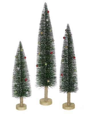 Set of 3 Whimsical Glittered Artificial Mini Village Christmas Trees - Unlit