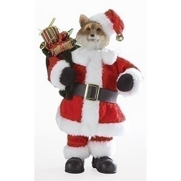 "10"" Multi-Colored Santa Fox with Satchel Decorative Christmas Table Top Decoration"""