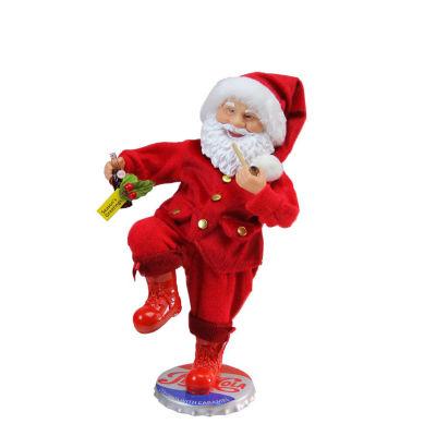 "12"" Santa Claus Standing on Vintage Style Pepsi-Cola Bottle Cap Christmas Figure"""