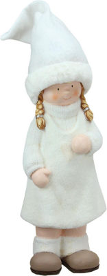"19"" Winter Girl in White with Tall Hat Christmas Table Top Figure"""