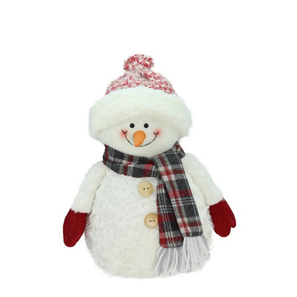 "13"" Smiling Snowman with Knit Hat Christmas Tabletop Decoration"""