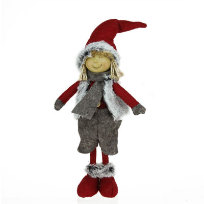"13.5"" Young Boy Gnome in Faux Fur Vest Christmas Tabletop Decoration"""