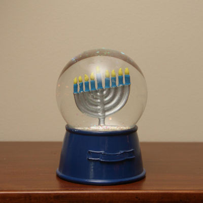"5.5"" Hanukkuh Holiday Snow Globe Glitterdome with Menorah"""
