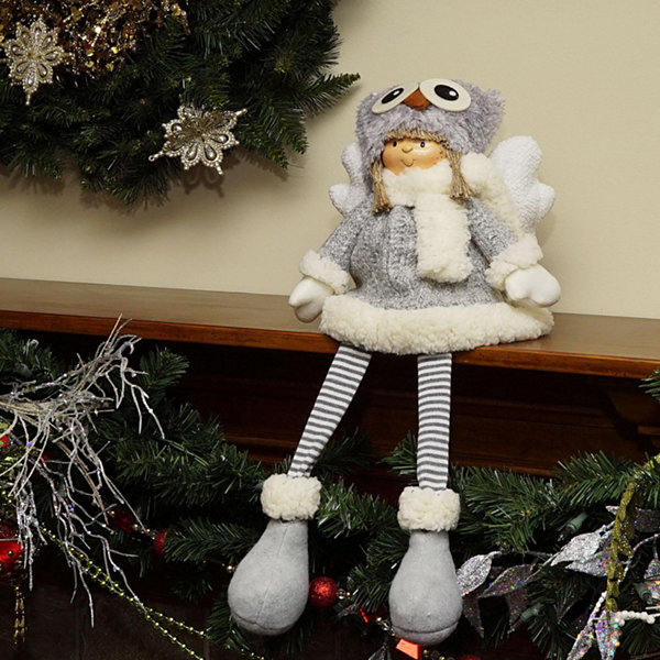 "21"" Sitting Girl Angel with Dangling Legs and Owl Hat Christmas Decoration"""