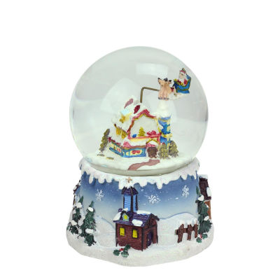 "5.5"" Santa Claus on Sleigh and Snowy Village Rotating Musical Christmas Water Globe Dome"""