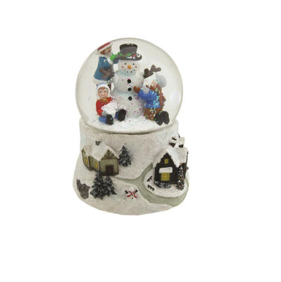 "5.5"" Snowman and Children Musical Swirling Christmas Snow Globe Glitter dome"
