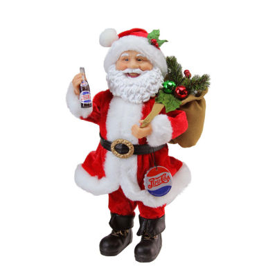 "12"" Santa Claus with Gift Sack Holding Pepsi-Cola Bottle and Cap Christmas Figure"""