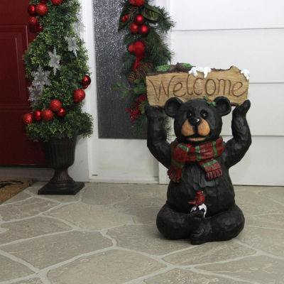 """18"""" Woodland Black Bear with Striped Scarf and """"Welcome"""" Sign Christmas Decoration"""""""