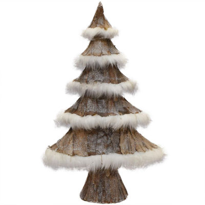 "23.5"" Nature's Luxury Brown Bark and White Faux-Fur Decorative Christmas Tree"""