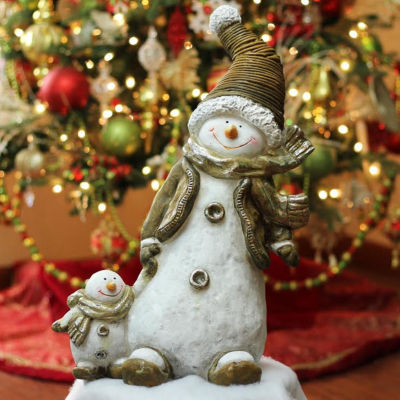 "20"" Whimsical Snowshoeing Ceramic Christmas Snowman with Snow-Baby Tabletop Figure"""