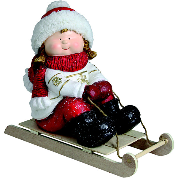 "8.5"" Christmas Morning Red & White Girl on a Sled Decorative Christmas Table top Figure"""