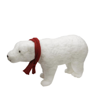 "25"" Walking Plush White Polar Bear Christmas Decoration"""