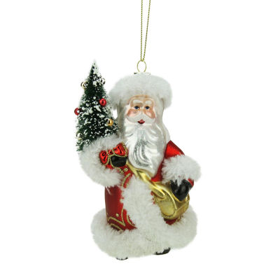 "5.5"" Old World Santa with christmas Tree Decorative Glass Ornament"""