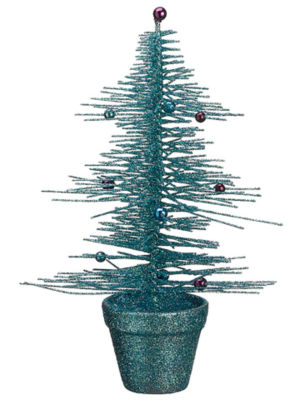 "11"" Whimsical Turquoise Glittered Spike Table Tree"""