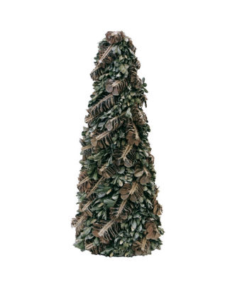 """16"""" Rustic Pinecones and Leaves Glittered Cone Tree Christmas Tabletop Decoration"""""""