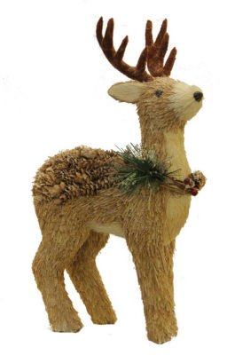 "16"" Sparkling Reindeer Wearing Frosted Wreath Christmas Decoration"""