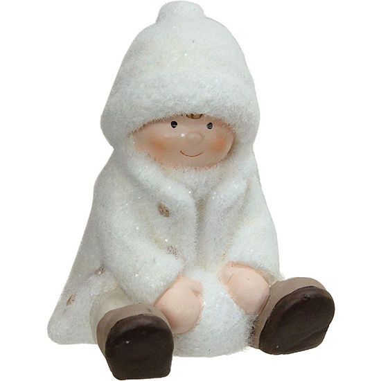 "4.75"" Creamy White Sitting Boy with Snowball Christmas Table Top Figure"""