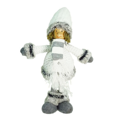 "13"" Decorative Gray and White Wintry Boy Christmas Table Top Figure"""