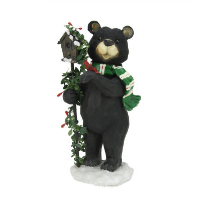 "9.75"" Black Grizzly Bear with Pine Berry Bird House Christmas Table Top Decoration"""