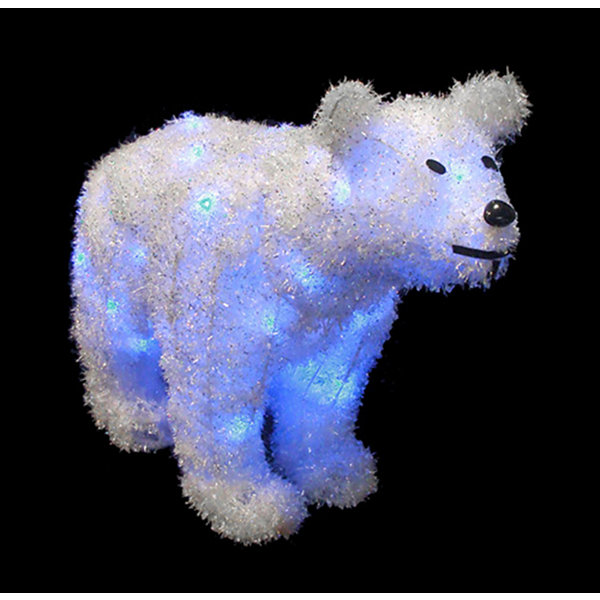"32"" LED Lighted Tinsel Polar Bear Christmas Decoration - Blue Lights"""