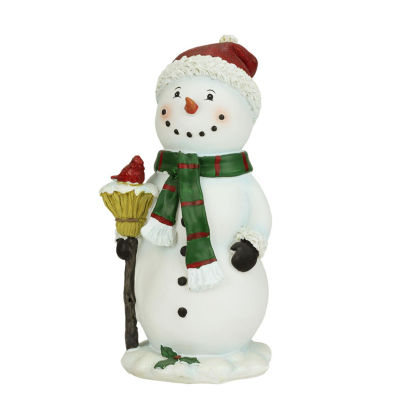 "10.25"" Festive Snowman Holding Broom with Cardinal Bird Christmas Figure"""
