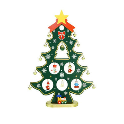 "11.25"" Wooden Christmas Tree Cut-Out with Miniature Ornaments Table Top Decoration"""