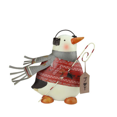 """12"""" Penguin in Red Sweater with Candy Cane """"Joy"""" Sign Christmas Decoration"""""""
