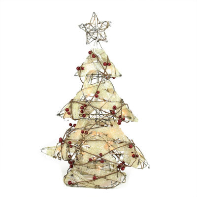 "22"" Pre-Lit  Burlap and Berry Rattan Christmas Tree Table Top Decoration"""