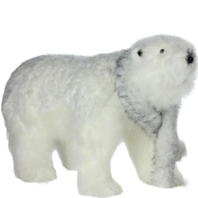 """28"""" Winter's Beauty Sparkling White Walking Bear with Scarf Christmas Decoration"""""""