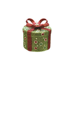"3.25"" Merry & Bright Green Red and White Glitter Polka-Dot Round Gift Box Christmas Ornament"""