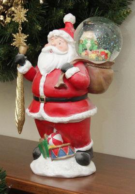 "11"" Santa Claus with Toy Sack Glitterdome Snow Globe Christmas Table Top Figure"""