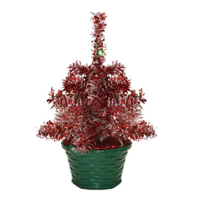 """8"""" LED Lighted Battery Operated Table Top Red Tinsel Potted Christmas Tree - Green Lights"""""""
