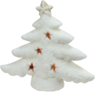 "6"" LED Lighted White Christmas Tree with Star Cut-Outs Table Top Figure"""