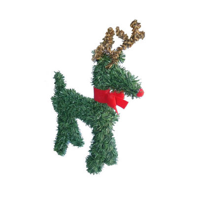 """5"""" Rudolph the Red-Nosed Reindeer with Bow Artificial Pine Christmas Figurine"""""""